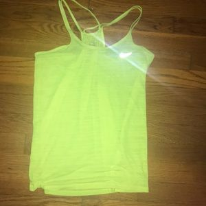 Neon yellow Nike double strap tank top